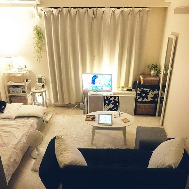 mikansanさんのOverview 無印良品 照明 カラーボックス 無印 間接照明 白 一人暮らし Francfranc 狭い部屋 フランフラン 1K 賃貸 白黒グレーに関する部屋写真