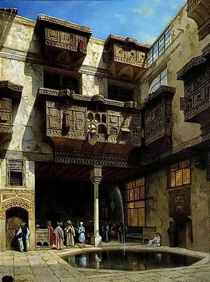 A courtyard in Cairo By Adrien Dauzats (French, 1804 - 1868) Oil on panel , 72.4 cm. X 53.3 cm