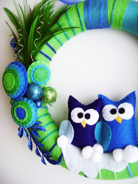 Yarn and Felt Wreath  Peacock Christmas  Owl Blue by RedMarionette on Etsy