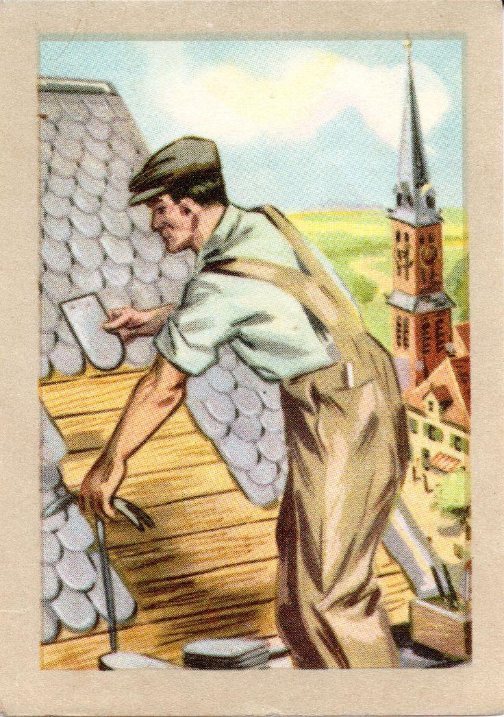 JACQUES SUPERCHOCOLAT - LES METIERS DANGEREUX: Le couvreur (Chromos instructifs - 131)
