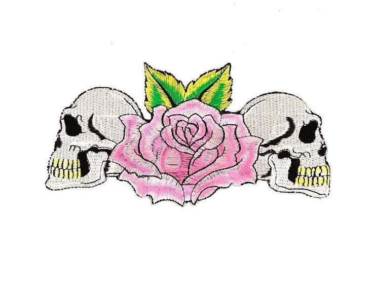 """Skulls Pink Rose Embroidered Patch 7"""" Iron On Gothic Skeleton Punk Biker Tattoo  #Embroidered"""