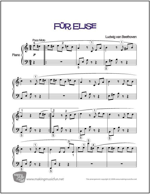 Fur Elise Beethoven Piano Sheet Music Free Easy Piano Sheet