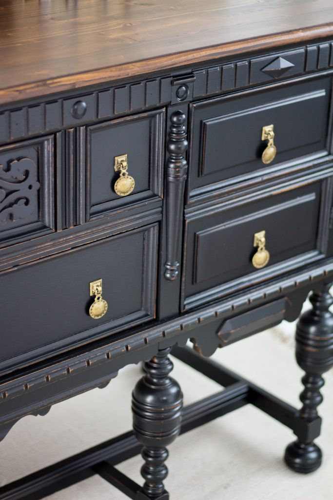 Black Buffet Makeover In Country Chic Paint In Liquorice Buffet Makeover Black Buffet Black Painted Furniture