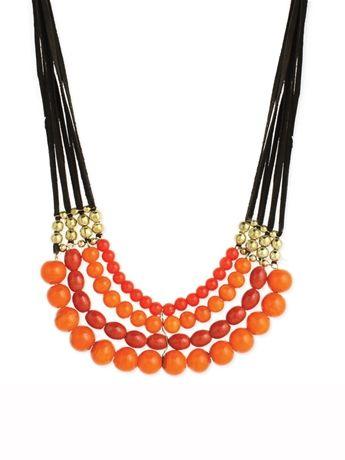 Orange Bead & Suede Necklace