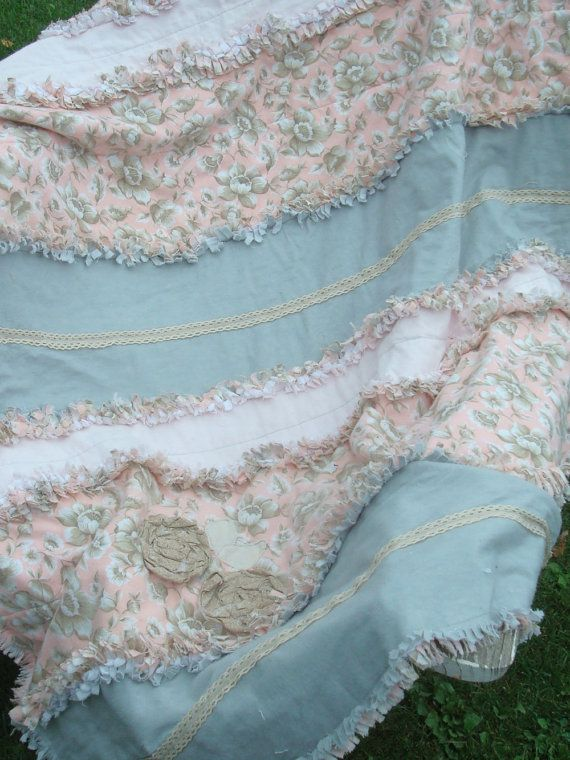 RAG QUILT THROW - Large, pink, grey, cream and beige, handmade, with cream lace trim added, shabby chic, Cozy and Plush and Charming