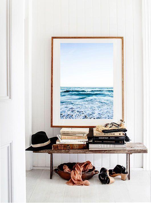 Large framed photo in mudroom. Landscape, beach, minimal, modern, midcentury, scandinavian, southwestern