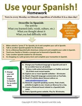 Real World Homework for Spanish classes | Students use their Spanish skills in the real world and then write a brief description of what they did. Options include ordering a meal in Spanish at a Latin restaurant, listening to a Spanish radio station, following a famous hispanic person on twitter, and more!