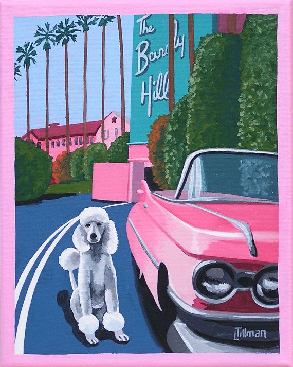 Mid Century Modern Eames Retro Limited à tirage de Original peinture Français caniche Beverly Hills Hotel