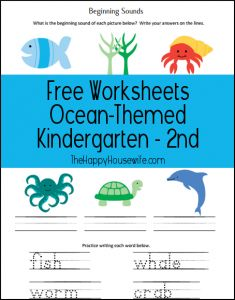 Set of 4 ocean-themed worksheets and printables, perfect for any Sea/Ocean Unit Study.