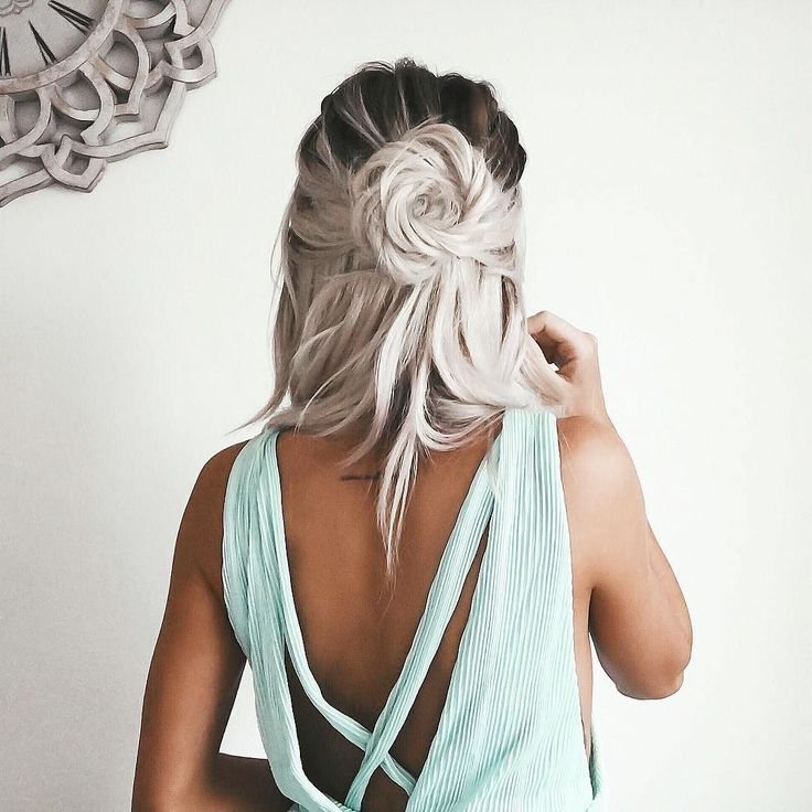 Half Up Hair With Rose Design Best Hair Styles Color