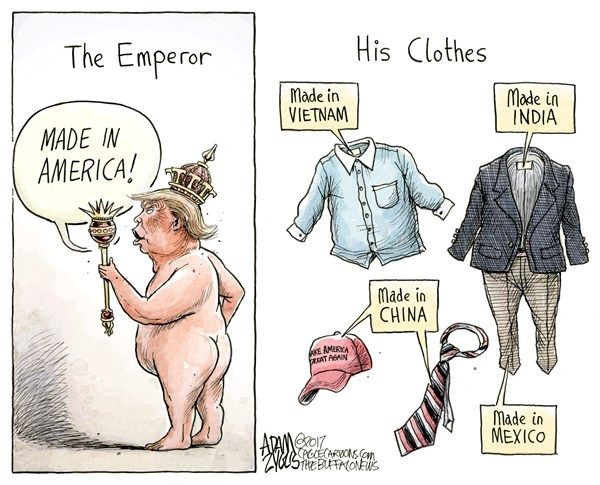 Adam Zyglis - The Buffalo News - Made in America Week COLOR - English - trump, donald, white house, president, made in america, week, clothing line, trump, cheap, labor, import, mexico, vietnam, china, india, suits, maga, hat, tie