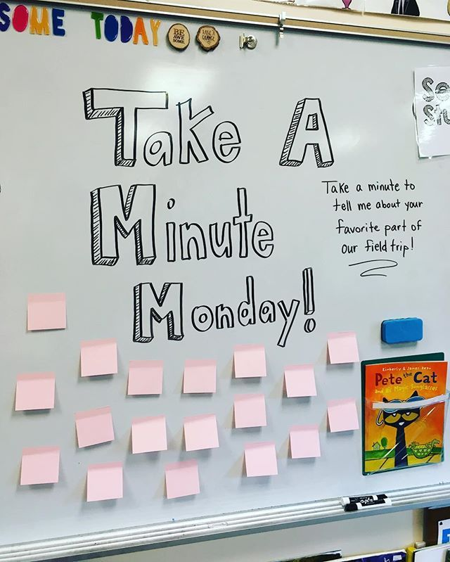 Take a minute on Monday morning to tell me about... Great way to start our week in Kinder!