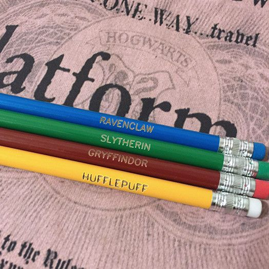 et of four Harry Potter House Pencils - perfect stocking stuffer - Ravenclaw, Gryffidor, Slytherin, Hufflepuff