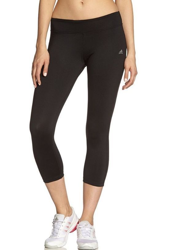 Adidas Women's Climalite Athletic Black Capri Leggings Running Yoga  #adidas #Pants