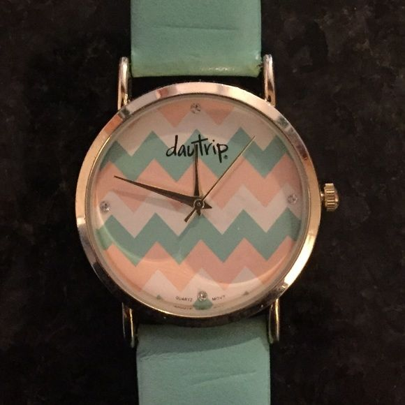 Daytrip mint watch Mint, pink, and cream chevron watch with faux leather band. No missing stones. Battery and hands work. Daytrip Accessories Watches