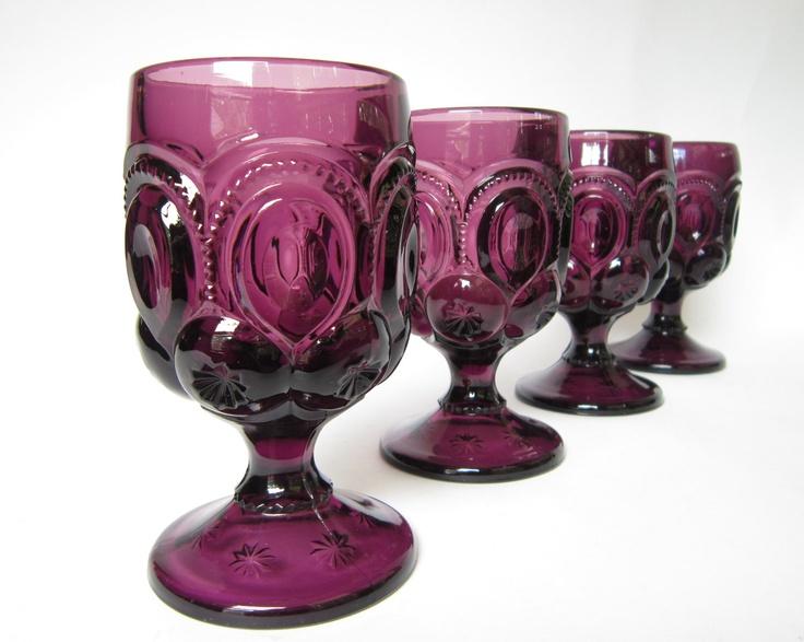 Set of 8 - Vintage Amethyst Moon & Stars Goblets, Footed ...