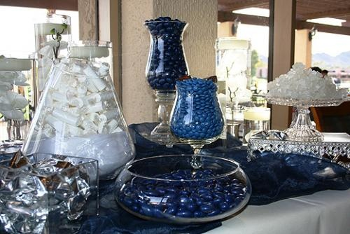 Blue and white wedding candy buffet.Grad Ideas, April Riggins, Candy Buffet, Candies Buffets, Blog Stuff, White Weddings, Wedding Candy, Buffets April, White Candies