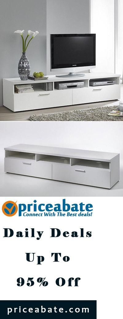 """#priceabatedeals Contemporary TV Stand 70"""" Entertainment Media Center Modern White Home Cabinet  - Buy This Item Now For Only: $292.98"""