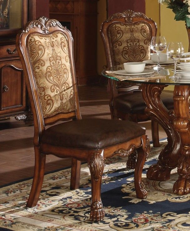Acme Dresden 5 Pc Round Dining Table Set In Cherry 2