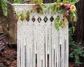 Makramee Hochzeit Bogen  6' x 8' natürlichen weißen Baumwoll