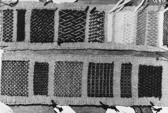 Oseberg Textiles - sample of weaves found. Kulturhistorisk museum, Oslo