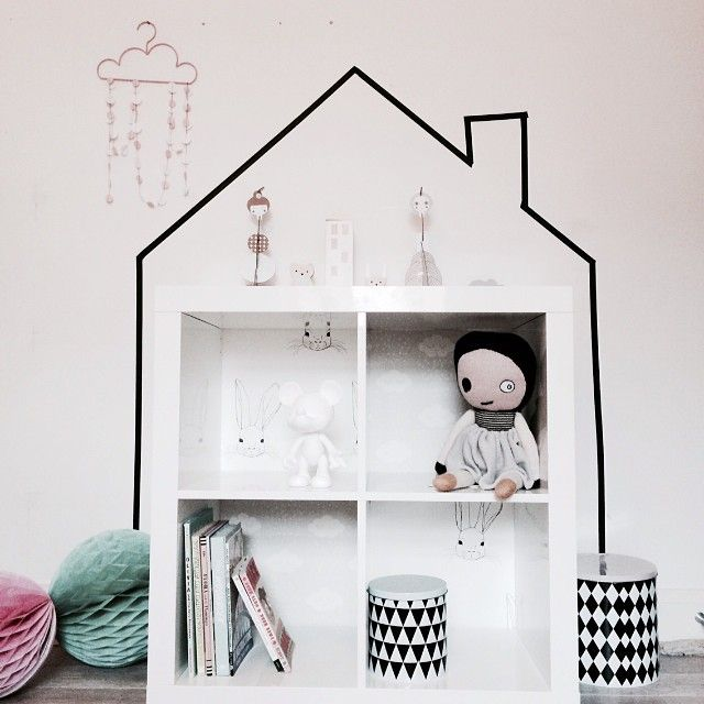 DIY washi tape and book shelf doll house by the talented chloeuberkid on Instagram