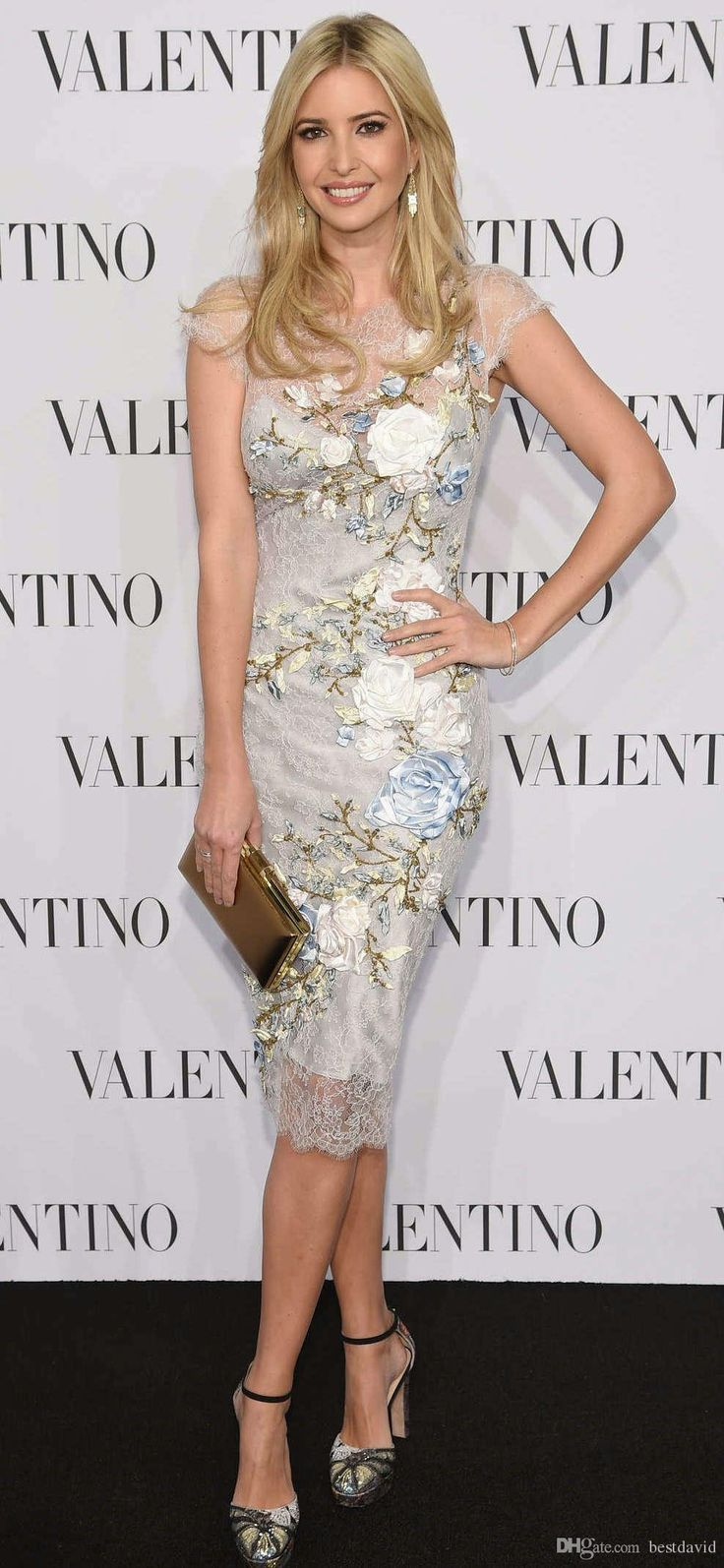 Ivanka Trump Beaded 3d Floral Appliques Short Celebrity Dresses 2017 Sheer Jewel Neck Cap Sleeves Handmate Flowers Sheath Evening Gown Shopping Dresses Online And Dresses Online From Bestdavid, $125.63| Dhgate.Com