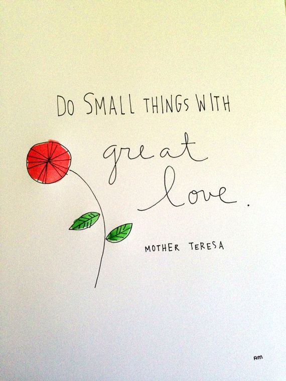 8x10 print of pen and ink mother teresa quote on Etsy, $7.00