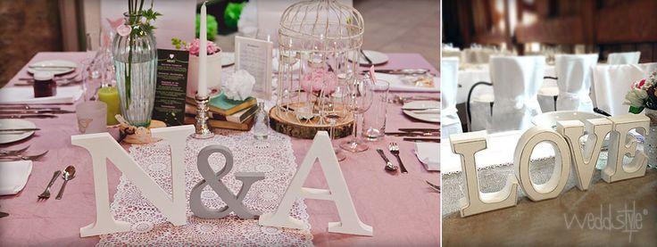 Individuelle Holz-Buchstaben und Initialen für für deine Hochzeit.