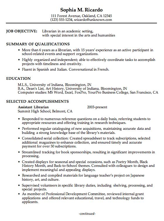 Librarian Cover Letter For Resume Resume Examples