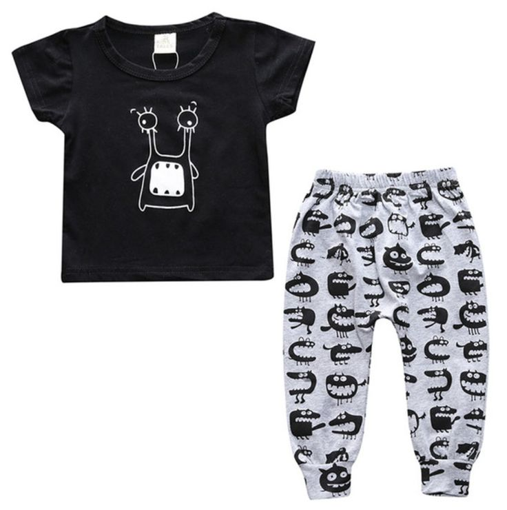 Grey harem pants and a black t-shirt are a perfect pair, especially with the mini monster graphic.