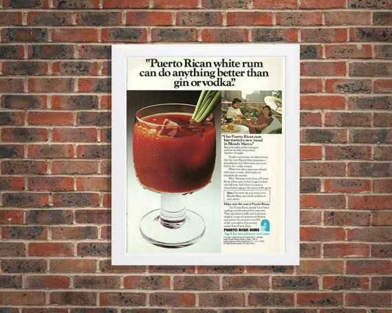 Puerto Rican Rums Advertisement | Bloody Mary Tonic White & On the Rocks | Smooth Alcohol Liquor | Puerto Rican Rums Adverts | Vintage Bar by RetroPapers
