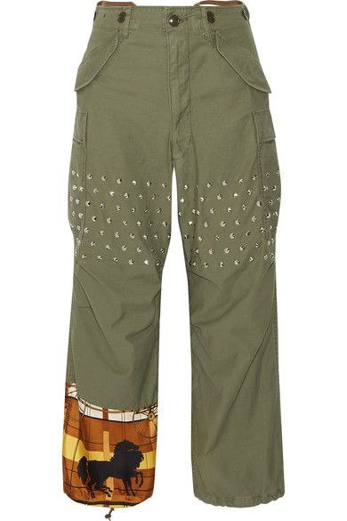 Printed satin paneled studded cotton blend wide-leg pant by Junya Watanabe $1,090