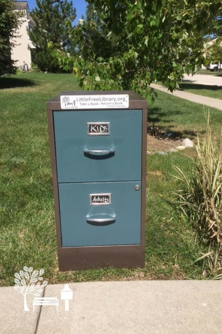 Patricia D. of Round Lake, IL stewards this re-purposed filing cabinet Little Free Library book exchange! This library has children, teens, and adult books. Keeping reading a live and bringing the community together through literature, will hopefully encourage more to read.
