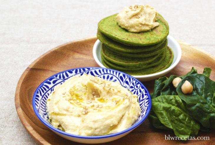 pancakes de espinacas con hummus