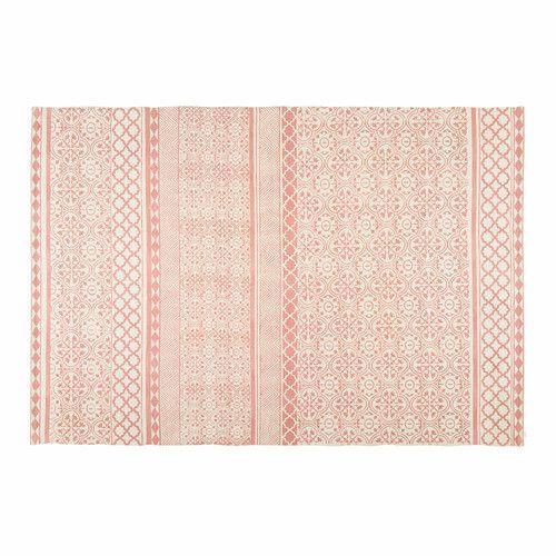 Tappeto bianco in cotone con motivi rosa pallido 200x140 cm BOHEME