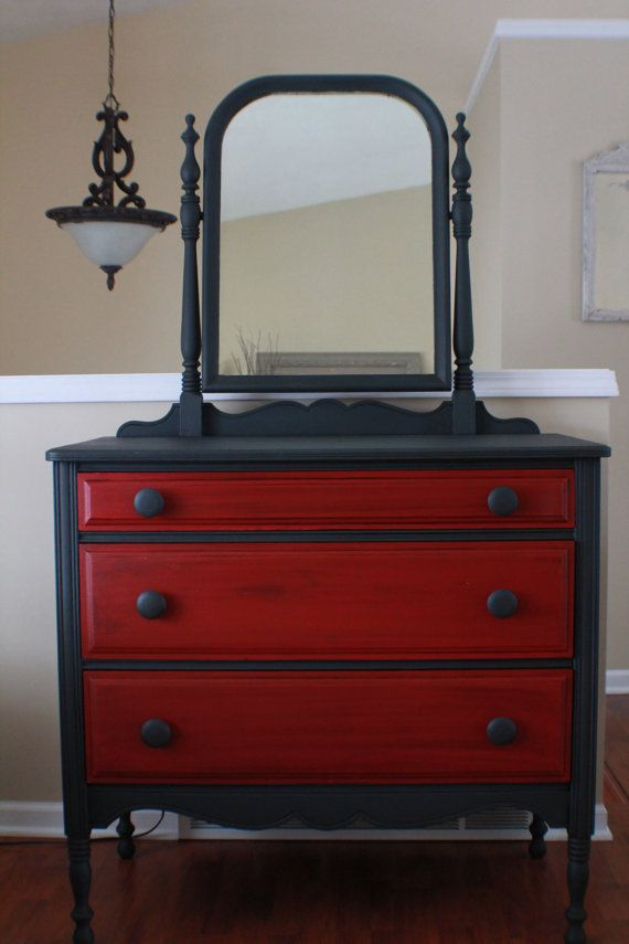 Antique Dresser in Graphite and Emperor's Silk