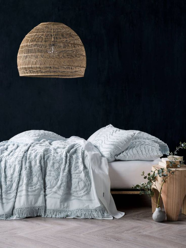 BED COVER SETS SOMERS SOFT BLUE BED COVER 240 X 260CM, MODERN CHENILLE, CONTEMPORARY BEDDING, TEXTURED BEDDING, BOHO BEDDING, VINTAGE BEDDING LINEN HOUSE
