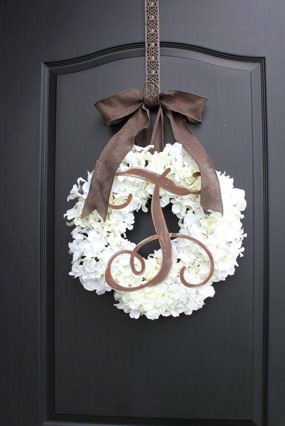 White Hydrangeas - Summer Wreath - Burlap Monogram Wreath - Wreaths for door - Door Wreaths - Fall Wreaths - Wreath - Country Cottage -