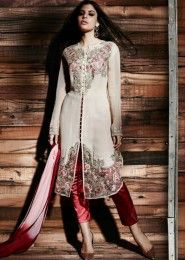 Reception Wear White Georgette Heavy Embroidery Work Straight Suit