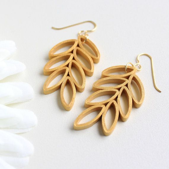 Gold Leaf Branch Earrings. Handmade Artisan Jewelry. Paper Quilling Jewelry…