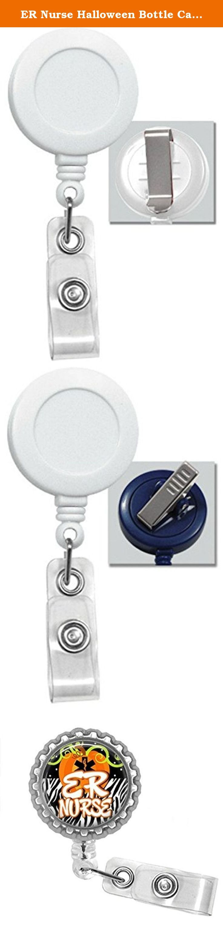 ER Nurse Halloween Bottle Cap Retractable Badge ID Holder. ER nurse halloween bottlecap badge reel is a great item to hang your work or school Id's from. Badge is 1.25 in diameter. The badge also is a Retractable badge with your choice of either a clip or a swivel alligator clip Pictures 2 is a slide clip picture 3 is an alligator clip. The retractable cord is 24 inches Badge reel says ER Nurse on it. The color of the badge reel is white.