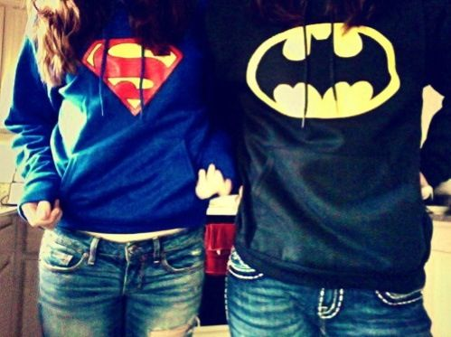 Superhero pull over sweaters. Batman and superman.