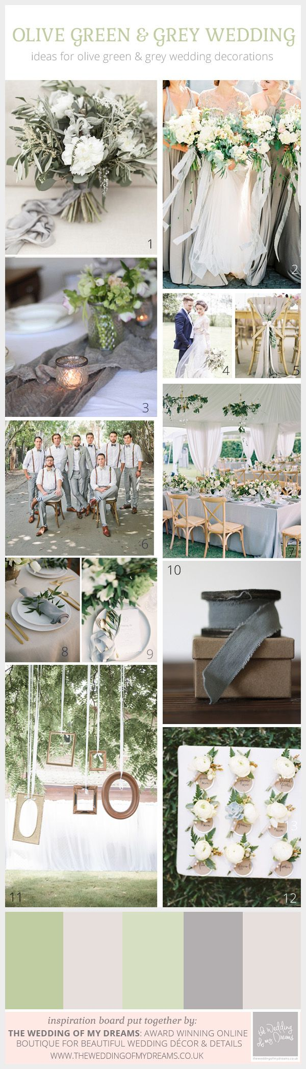 An Olive Green and Grey Wedding Colour Scheme