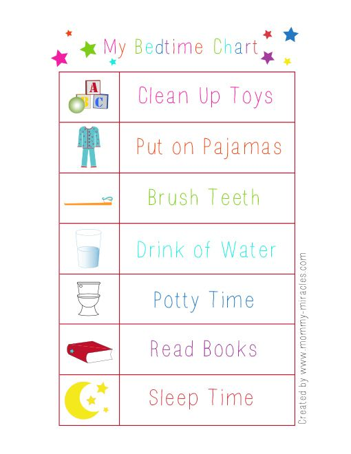 Great tips for toddler bedtime with a free printable Bedtime Chart