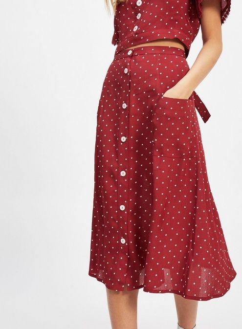 6b0e8c86d PETITE Burgundy Spotted Midi Skirt - Petites - New In - Miss Selfridge