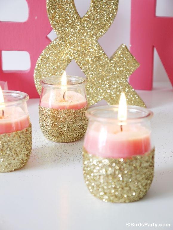 tuto pour faire des bougies dans des pots en verre recyclé et décoré avec des paillettes ! Bird's Party Blog: TUTORIAL: DIY Pink Candles and Glitter Candle Holders