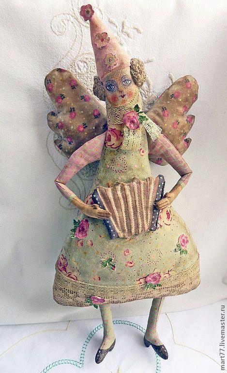 """Купить """" а я играю на гармошке..)"""" - мятный, ангел, кукла, ангелочек, винтажный стиль"""