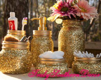 Gold glitter bathroom set. One pint jar soap by TrulySouthernDecor