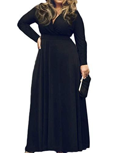 6e1b737e9bcf POSESHE Women's Plus Size Solid V-Neck Long Sleeve Evening Party Maxi Dress  #dresses #eveningdresses #partydress #maxidress